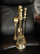 "VINTAGE BRASS SMALL FIRESIDE COMPANION SET BALL HANDLE 4 PIECE & STAND 16"" HIGH"